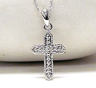 WHITE GOLD PLATING CROSS PENDANT NECKLACE