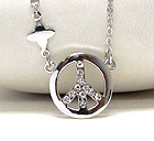 WHITE GOLD PLATING AND CRYSTAL DECO PEACE SYMBOL PENDANT NECKLACE