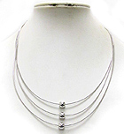 WHITE GOLD PLATING TRIPLE WIRE AND METAL BALL DECO NECKLACE