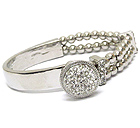 CRYSTAL DISK AND BRAIDED LEATHERETTE AND HALF METAL BANGLE BRACELET