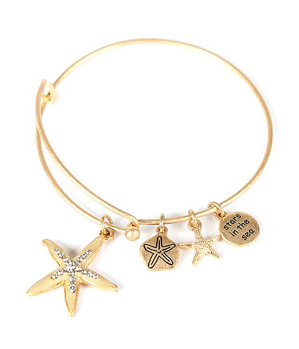 STARFISH CHARM WIRE BANGLE BRACELET