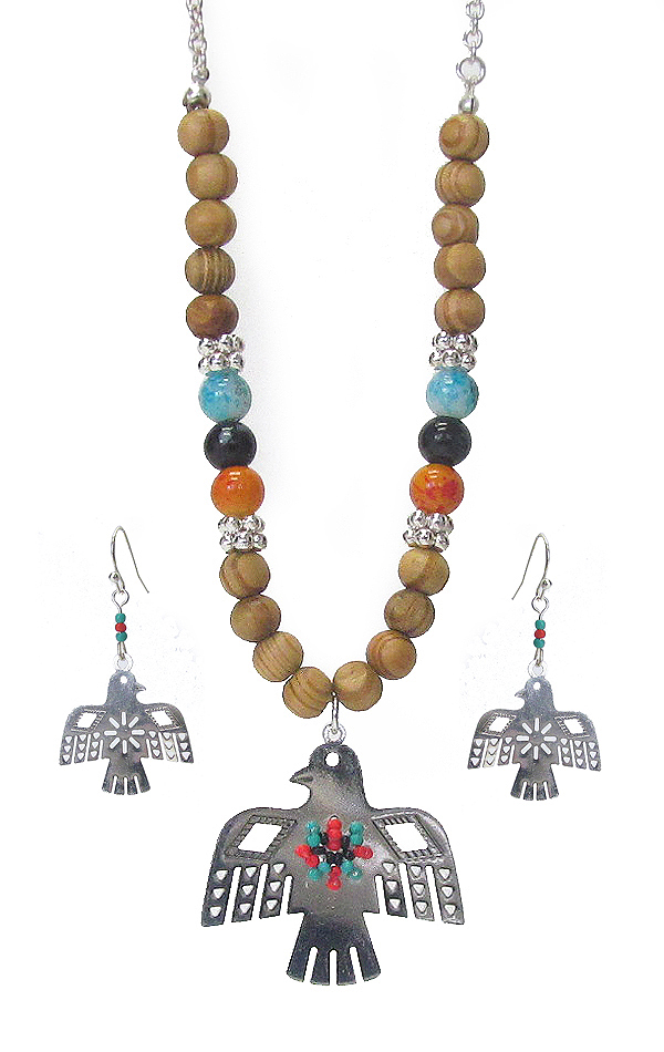 THUNDERBIRD PENDANT AND WOOD BEAD NECKLACE SET