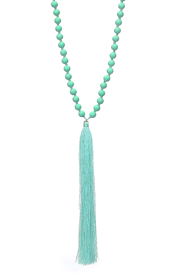 LONG THREAD TASSEL AND BALL BEAD LONG NECKLACE
