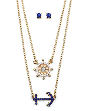 NAUTICAL THEME DOUBLE LAYER NECKLACE SET