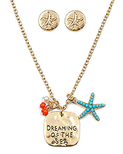 HANDMADE PLATE AND STARFISH NECKLACE SET - DREAMING OF THE SEA