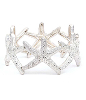 TEXTURED MULTI STARFISH LINK STRETCH BRACELET