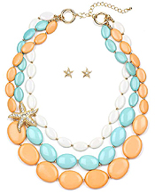 CRYSTAL STARFISH AND FORMICA STONE NECKLACE SET