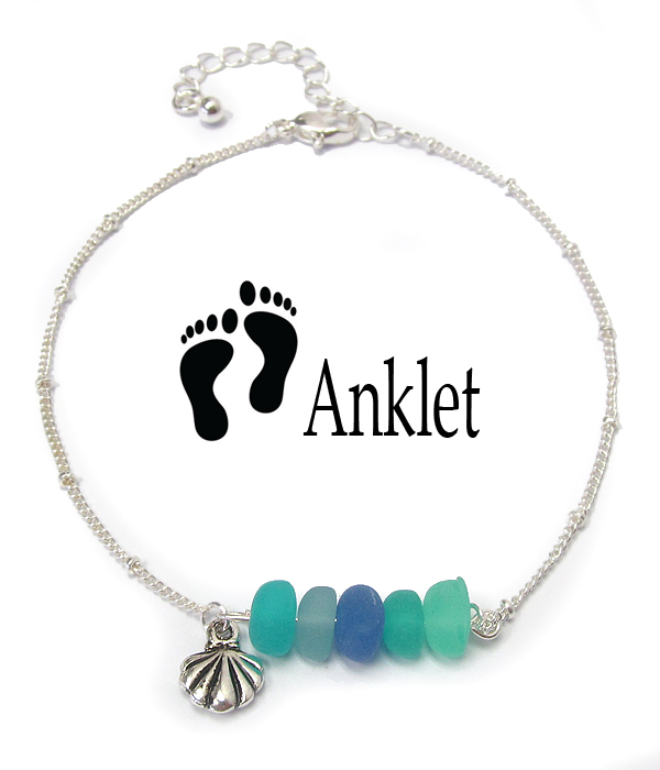 SEALIFE THEME SEAGLASS CHARM ANKLET - SHELL