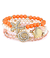 CRYSAL STARFISH AND SHELL STACKABLE STRETCH BRACELET SET OF 3