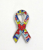 CRYSTAL AND EPOXY AUTISM THEME RIBBON BROOCH OR PIN