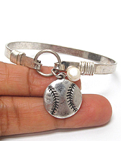 SOUTHERN COUNTRY STYLE BASEBALL CHARM WIRE BANGLE BRACELET