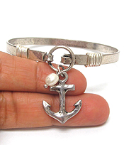 SOUTHERN COUNTRY STYLE ANCHOR CHARM WIRE BANGLE BRACELET