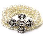 OVAL CRYSTAL METAL TEXTURED CROSS AND PEARL STRETCH BRACELET SET OF 5