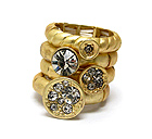 CRYSTAL DECO MULTI DISK STACKABLE STRETCH RING SET OF 4