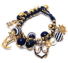 NAUTICAL ANCHOR CHARM AND BALL DANGLE TIE BACK BRACELET