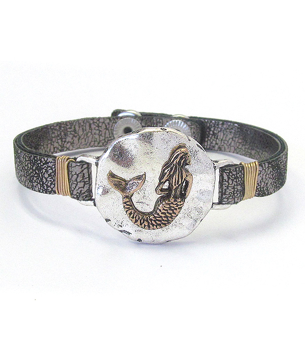 MERMAID AND LEATHER BAND BRACELET