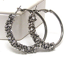 METAL HOOP AND HALF CRYSTAL WRAP EARRINGS