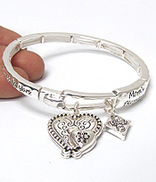 MOMS BLESSING MESSAGE HEART CHARM STRETCH BRACELET