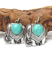 VINTAGE TIBETAN SILVER AND TURQUOISE ELEPHANT EARRINGS