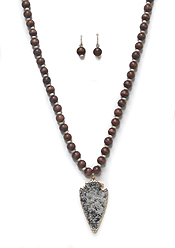 WOOD TYPE BEADS WITH STONE DROP NECKLACE SET
