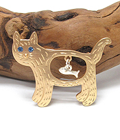 CAT AND FISH BROOCH OR PIN