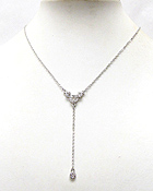 WHITE GOLD PLATING CRYSTAL DECO RING CENTER AND BALL DROP Y SHAPE NECKLACE