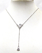 WHITE GOLD PLATING CRYSTAL DECO PALM CENTER AND FOOT DROP Y SHAPE NECKLACE