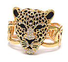 CRYSTAL AND EPOXY DECO LARGE JAGUAR HEAD STRETCH BRACELET - Wholesale Fashion Jewelry