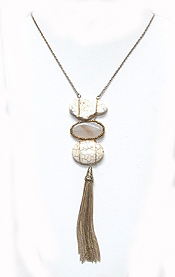 LINKED STONES WITH TASSEL DROP NECKLACE