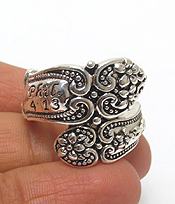 RELIGIOUS FLOWER TEXTURED SPOON METAL RING