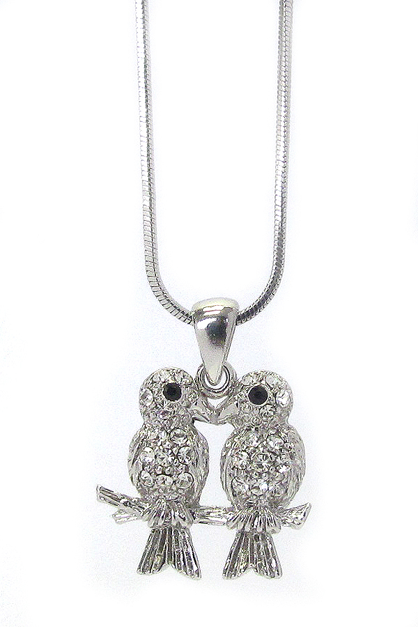 WHITEGOLD PLATING CRYSTAL TWO BIRDS PENDANT NECKLACE