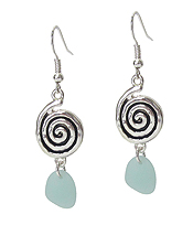 SWIRL DISC AND SEA GLASS DROP EARRING