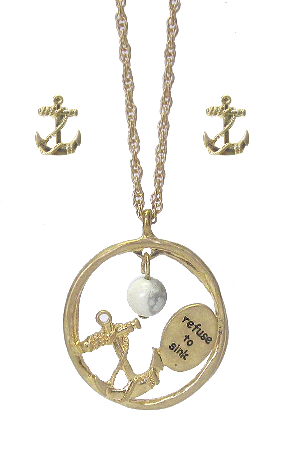 SEALIFE THEME PENDANT NECKLACE SET - ANCHOR