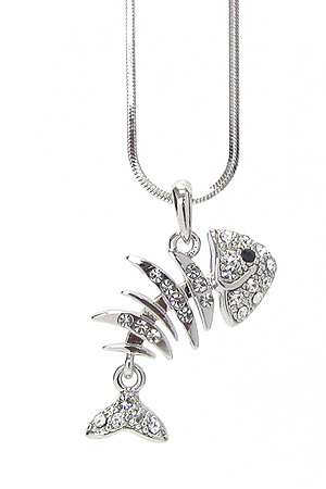 WHITEGOLD PLATING CRYSTAL FISH BONE PENDANT NECKLACE