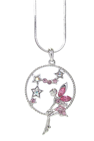 WHITEGOLD PLATING CRYSTAL FAIRY PENDANT NECKLACE
