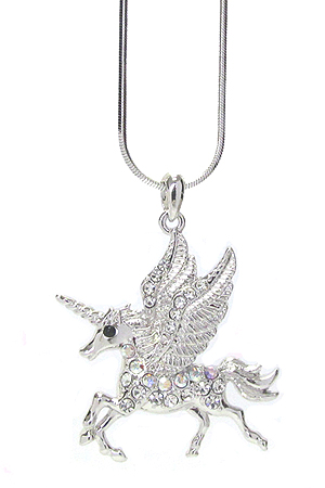 WHITEGOLD PLATING CRYSTAL UNICORN PENDANT NECKLACE