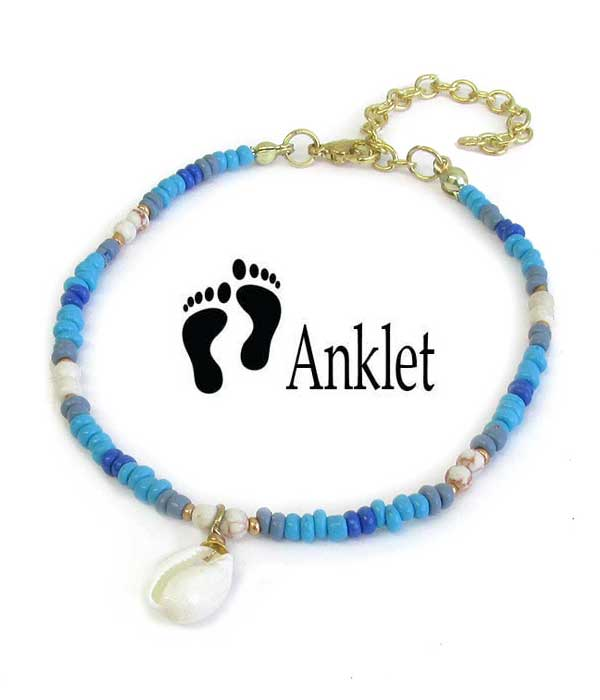 SEALIFE THEME MULTI SEEDBEAD ANKLET - COWRY SHELL