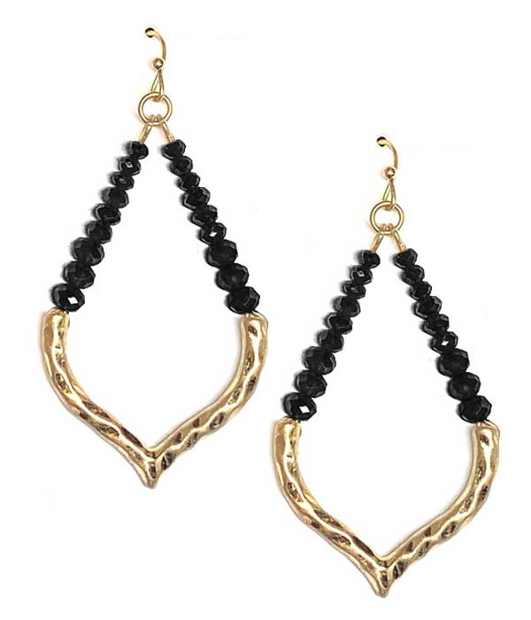 FACET STONE BEAD AND METAL MIX EARRING