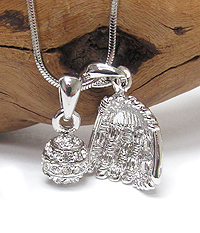 WHITEGOLD PLATING CRYSTAL MINIATURE BASEBALL GLOVE AND BALL PENDANT NECKLACE