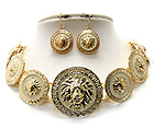MULTI EPOXY DECO LION HEAD DISK LINK RIHANNA STYLE CHOCKER NECKLACE EARRING SET - Wholesale Fashion Jewelry