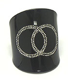 CRYSTAL DOUBLE CIRCLE ACRYLIC BANGLE BRACELET