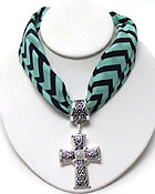 CRYSTAL AND METAL FILIGREE CROSS AND CHEVRON PATTERN SCARF NECKLACE