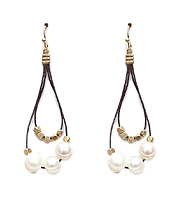GENUINE FRESH WATER PEARL AND METAL BEAD DOUBLE LAYER EARRING