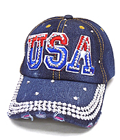 RHINESTONE WORN DENIM BASEBALL CAP - USA