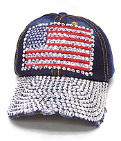RHINESTONE WORN DENIM BASEBALL CAP - AMERICAN FLAG
