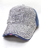 RHINESTONE WORN DENIM BASEBALL CAP
