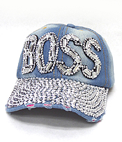 RHINESTONE WORN DENIM BASEBALL CAP - BOSS