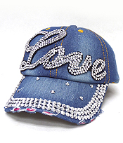 RHINESTONE WORN DENIM BASEBALL CAP - LOVE