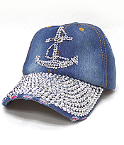 RHINESTONE WORN DENIM BASEBALL CAP - ANCHOR