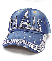 RHINESTONE WORN DENIM BASEBALL CAP - PARIS